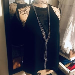 Black mesh V-Neck Halter
